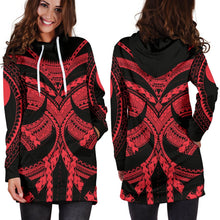 Load image into Gallery viewer, Samoan Tattoo Women's Hoodie Dress Red TH4 - 1st New Zealand