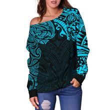 Load image into Gallery viewer, New Zealand Women's Off Shoulder Sweater, Maori Polynesian Tattoo Blue TH4 - 1st New Zealand