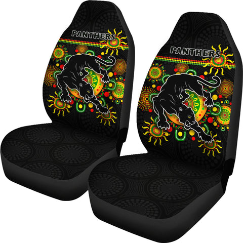 Penrith Car Seat Covers Indigenous Panthers - Black