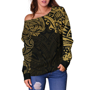 New Zealand Women's Off Shoulder Sweater, Maori Polynesian Tattoo Gold TH4 - 1st New Zealand