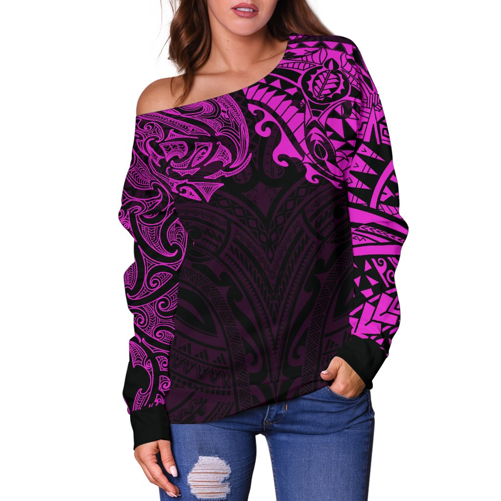 New Zealand Women's Off Shoulder Sweater, Maori Polynesian Tattoo Purple TH4 - 1st New Zealand