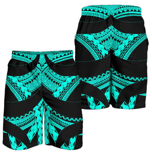 Samoan Tattoo All Over Print Men's Shorts Turquoise TH4 - 1st New Zealand