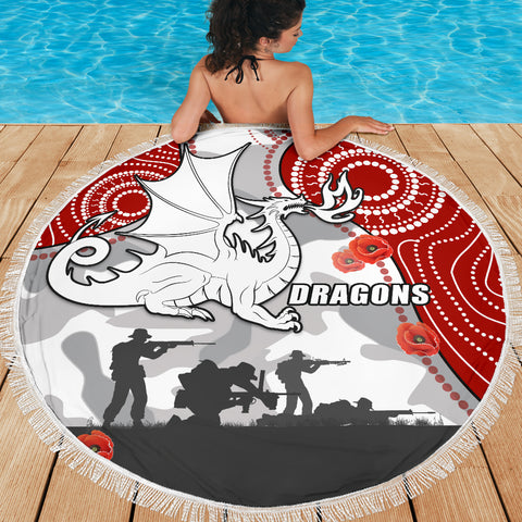 Dragons Anzac Day Beach Blanket Indigenous K13