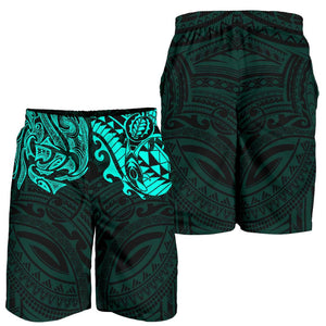 New Zealand All Over Print Men's Shorts , Maori Polynesian Tattoo Turquoise TH4 - 1st New Zealand