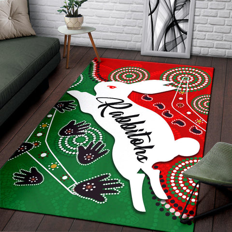 Image of Rabbitohs Forever Area Rug Indigenous K4