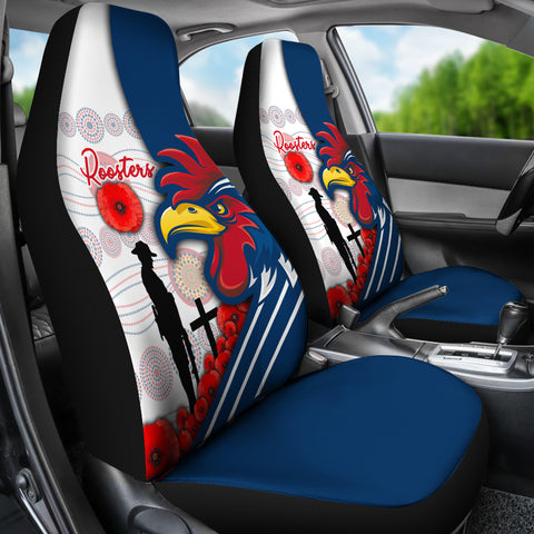 Australia Roosters Car Seat Covers Anzac Day - Three Tiles Style | Rugbylife.co