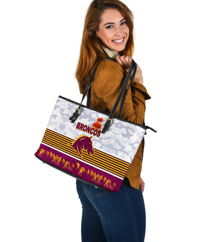 Brisbane Broncos Large Leather Tote Anzac Day Simple Style - White K8
