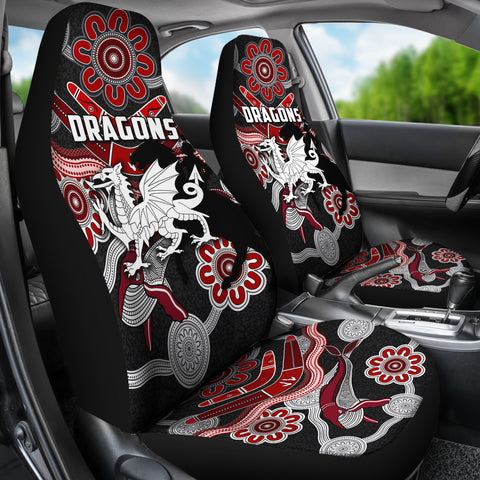 Dragons Car Seat Covers St. George Indigenous Black K4