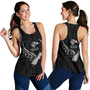 New Zealand Heart Women's Racerback Tank - Map Kiwi mix Silver Fern White K4 - 1st New Zealand
