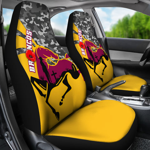 Brisbane Broncos Car Seat Covers Anzac Day - Camo Style TH12