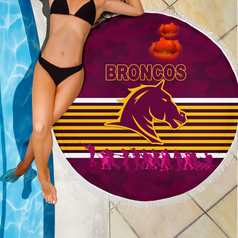 Brisbane Broncos Beach Blanket Anzac Day Simple Style - Full Maroon K8