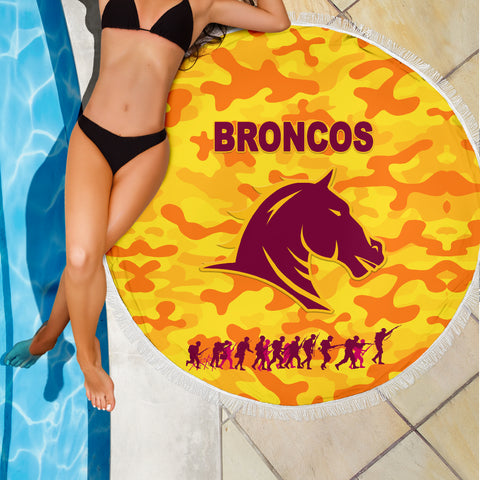 Image of Brisbane Broncos Beach Blanket Anzac Day Camouflage Vibes - Gold K8