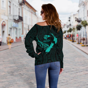 New Zealand Heart Women's Off Shoulder Sweater - Map Kiwi mix Silver Fern Turquoise K4 - 1st New Zealand