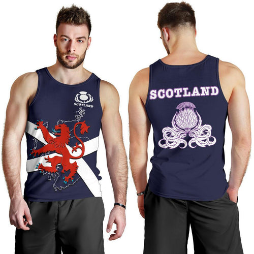 Scotland Rugby Men Tank Top Lion Rampant with Thistle 1