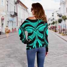 Load image into Gallery viewer, Samoan Tattoo Women's Off Shoulder Sweater Turquoise TH4 - 1st New Zealand