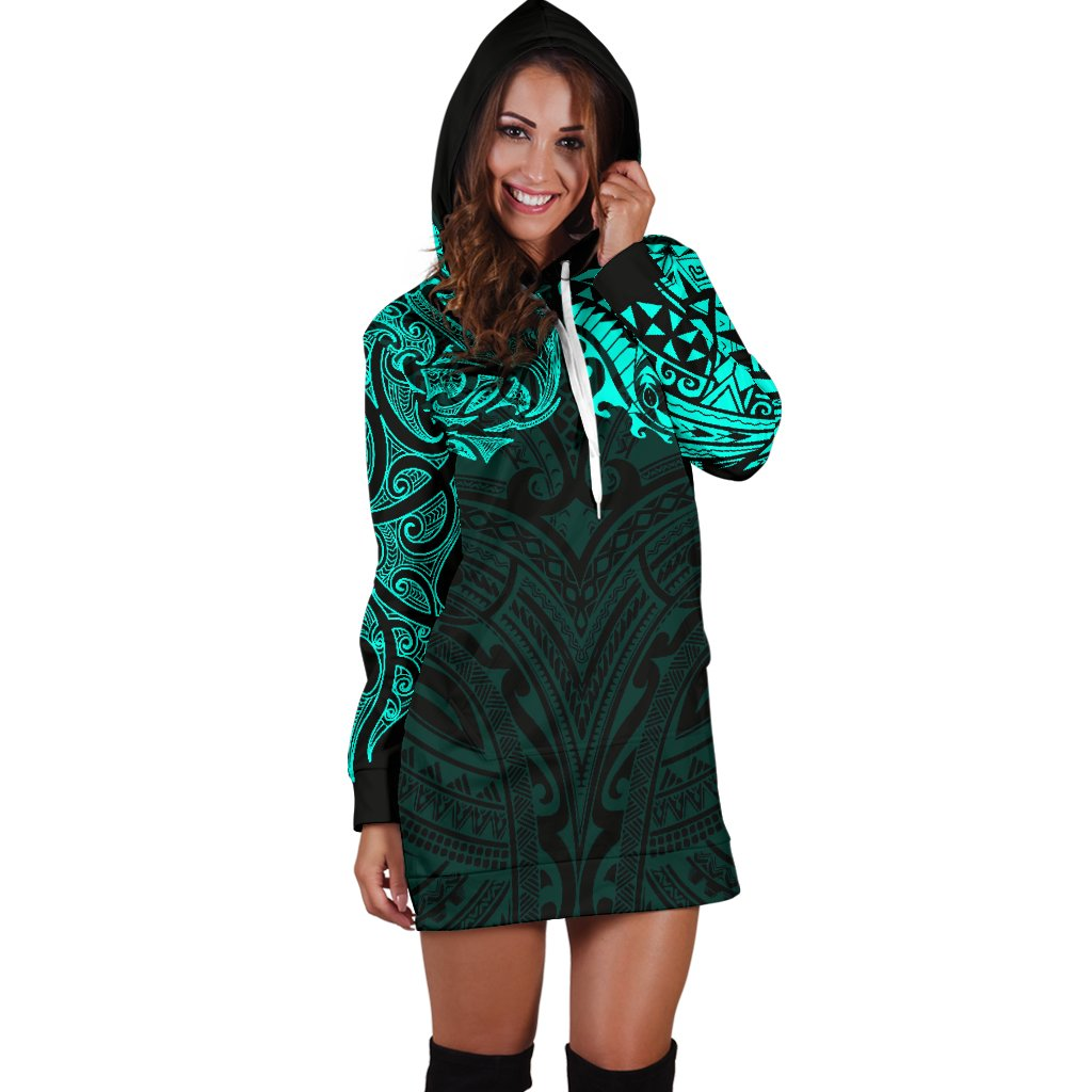 New Zealand Women's Hoodie Dress, Maori Polynesian Tattoo Turquoise TH4 - 1st New Zealand
