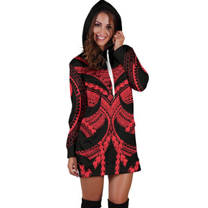 Samoan Tattoo Women's Hoodie Dress Red TH4 - 1st New Zealand