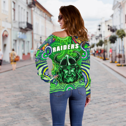 Raiders Newest Off Shoulder Sweater Come On Green K13