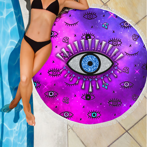 Evil Eye Beach Blanket Simple Style - Pink K8