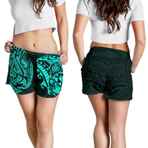 New Zealand All Over Print Women's Shorts, Maori Polynesian Tattoo Turquoise TH4 - 1st New Zealand