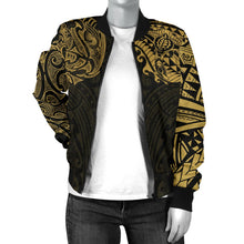 Load image into Gallery viewer, New Zealand Women's Bomber Jacket, Maori Polynesian Tattoo Gold TH4 - 1st New Zealand