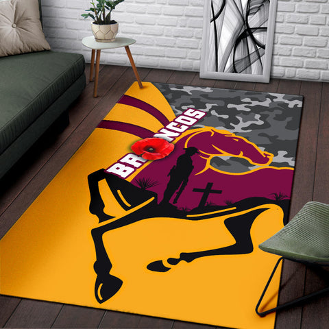 Brisbane Broncos Area Rug Anzac Day - Camo Style TH12