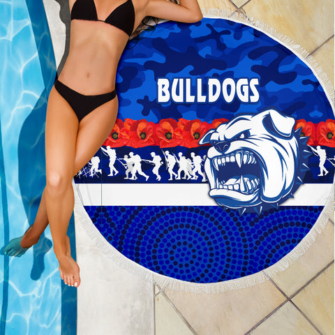 Western Bulldogs Beach Blanket Anzac Day Poppy Flower K8