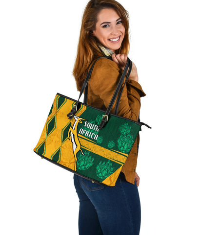 South Africa Large Leather Tote Springboks Rugby Be Fancy K8