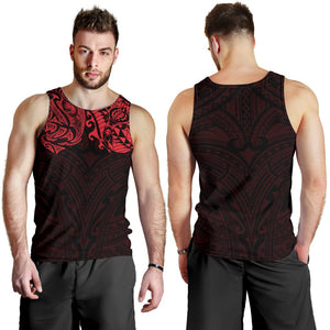 New Zealand Men's Tank Top, Maori Polynesian Tattoo Red TH4 - 1st New Zealand