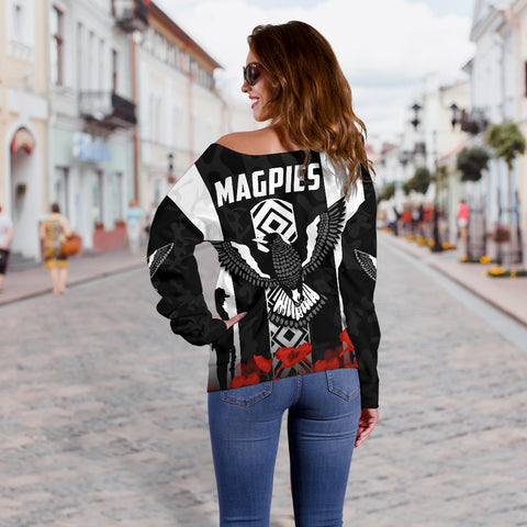 Magpies Women's Off Shoulder Sweater Collingwood Anzac Day TH6