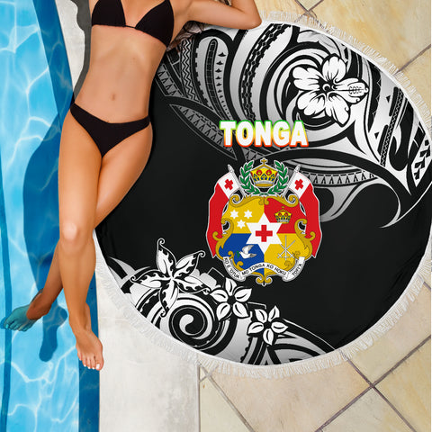 Mate Ma'a Tonga Rugby Beach Blanket Polynesian Unique Vibes - Black K8