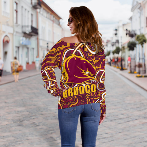 Broncos Rugby Women's Off Shoulder Sweater Indigenous TH6