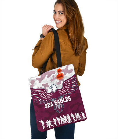 Manly Warringah Tote Bag Sea Eagles Anzac Day Camouflage Vibes K8