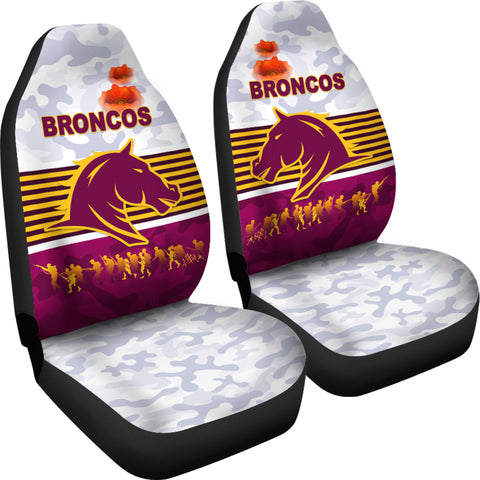 Brisbane Broncos Car Seat Covers Anzac Day Simple Style - White K8