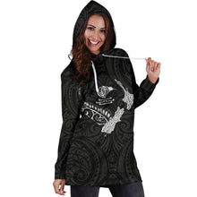 Load image into Gallery viewer, New Zealand Heart Women's Hoodie Dress - Map Kiwi mix Silver Fern White K4 - 1st New Zealand