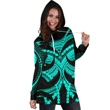 Load image into Gallery viewer, Samoan Tattoo Women's Hoodie Dress Turquoise TH4 - 1st New Zealand
