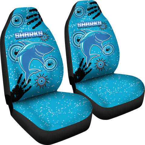 Image of Cronulla Sharks Car Seat Covers Indigenous Country Style K36