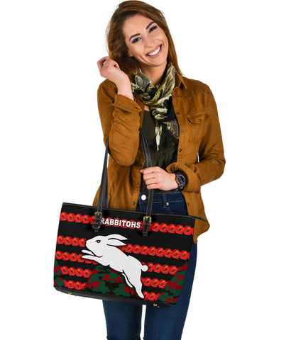South Sydney Rabbitohs Large Leather Tote Anzac Day Poppy Flower Vibes K8