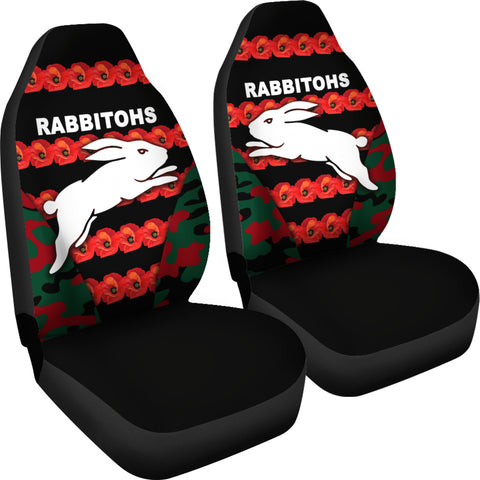 South Sydney Rabbitohs Car Seat Covers Anzac Day Poppy Flower Vibes K8