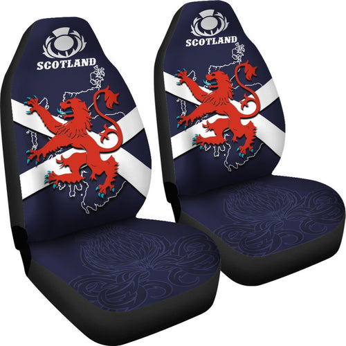 Scotland Rugby Car Seat Covers Lion Rampant with Thistle 1