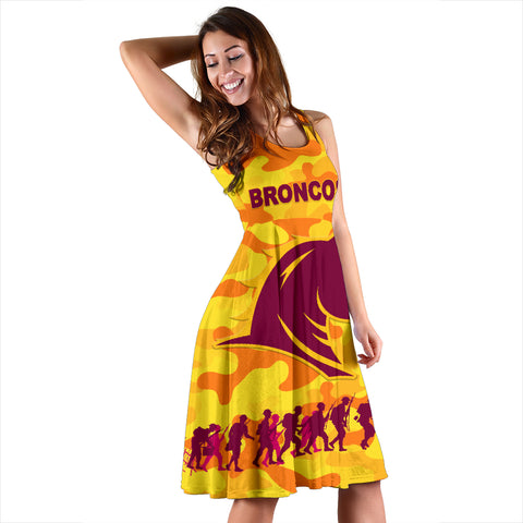 Brisbane Broncos Women's Dress Anzac Day Camouflage Vibes - Gold K8