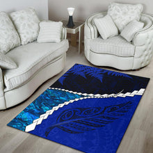 Load image into Gallery viewer, Paua Shell Maori Silver Fern Area Rug Cobalt K5