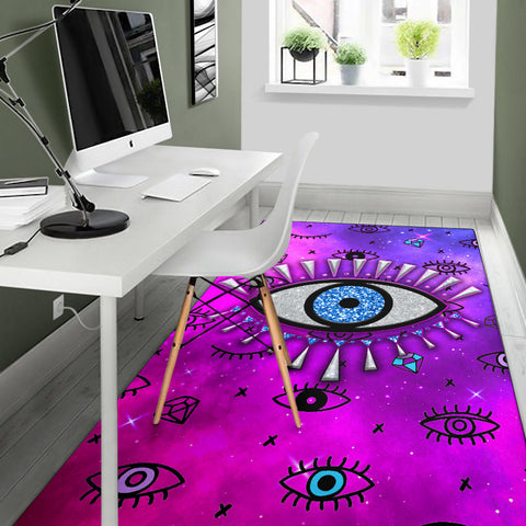 Image of Evil Eye Area Rug Simple Style - Pink K8