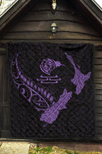 Load image into Gallery viewer, New Zealand Heart Premium Quilt - Map Kiwi mix Silver Fern Pastel Purple K4 - rugbylife