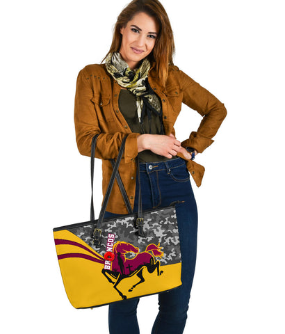 Brisbane Broncos Large Leather Tote Anzac Day - Camo Style TH12