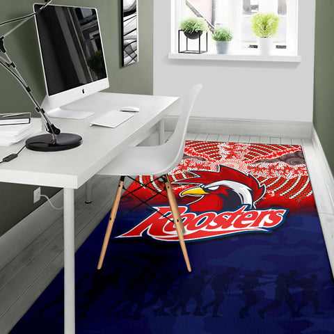 Roosters Area Rug Anzac Day Aboriginal TH4