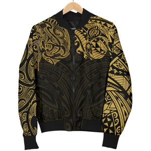 New Zealand Women's Bomber Jacket, Maori Polynesian Tattoo Gold TH4 - 1st New Zealand