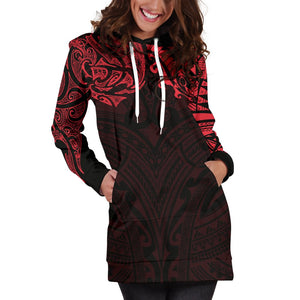 New Zealand Women's Hoodie Dress, Maori Polynesian Tattoo Red TH4 - 1st New Zealand