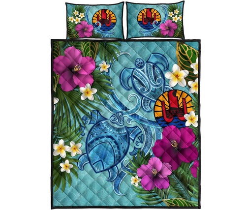 Tahiti Quilt Bed Set - Polynesian Turtle Hibiscus And Plumeria | Love The World