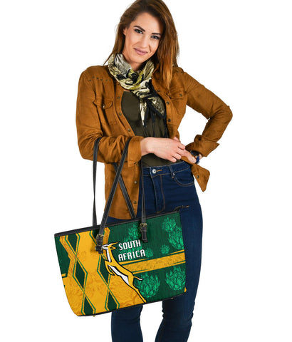 Image of South Africa Large Leather Tote Springboks Rugby Be Fancy K8